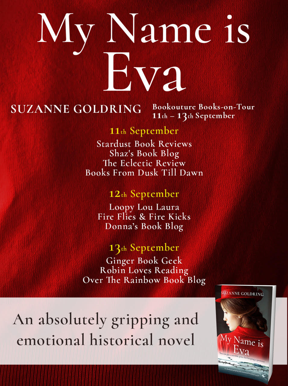 My Name is Eva by Suzanne Goldring @Bookouture #BlogTour #NewRelease #WomensHistoricalFiction #MyNameIsEva #NetGalley